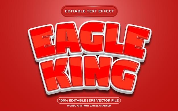 Style de dessin animé de roi aigle effet de texte modifiable