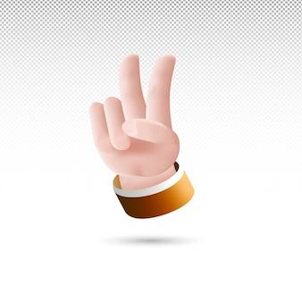 Style de dessin animé de signe de main de paix 3d sur fond transparent blanc vecteur gratuit