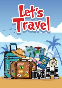 Style de dessin animé de voyage d'été