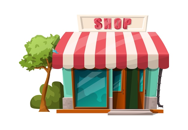 Style de dessin animé de la vue de la boutique du café.