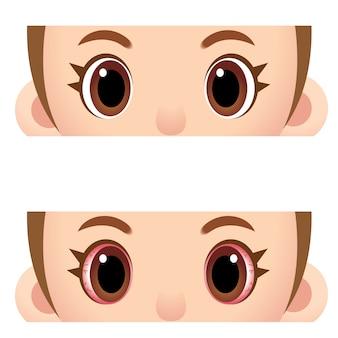 Style de dessin animé yeux humains