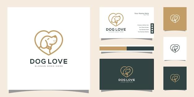 Style de dessin au trait logo chien d'amour et conception de cartes de visite