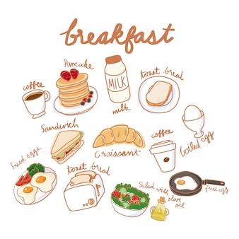 Style de dessin d'illustration de la collection de nourriture