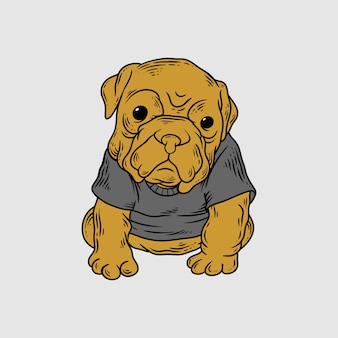 Style de dessin de main de mauvais chien