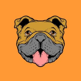 Style de dessin main tête de chien mignon