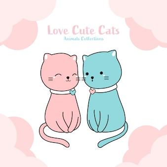 Style dessiné à la main d'amant de chats mignons