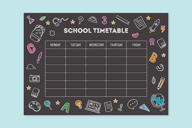 Style dessiné à la main au calendrier scolaire
