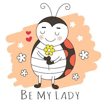Style dessiné à la main cartooon lady bug mignon