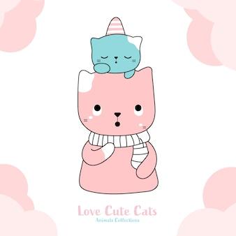 Style dessiné à la main de chats mignons