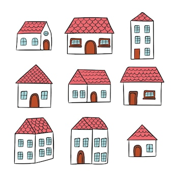Style dessiné à la main de collection de maison