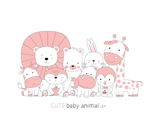 Style dessiné à la main. croquis de dessin animé les animaux de bébé mignon posture