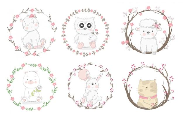 Style dessiné à la main de dessin animé animal mignon