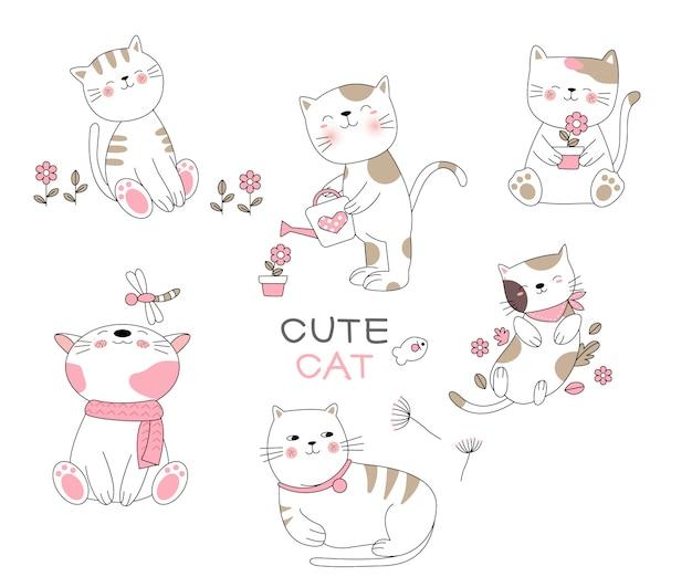 Style dessiné à la main de dessin animé chat mignon