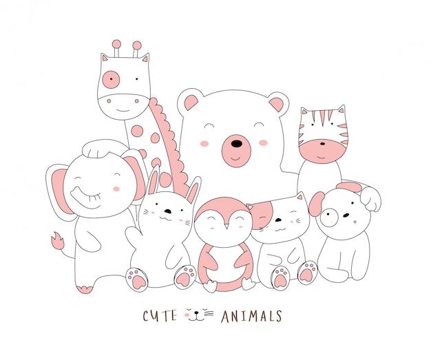 Style dessiné à la main. dessin animé, croquis, les, mignon, posture, bébé, animaux