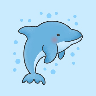 Style dessiné de main de dessin animé mignon dauphin