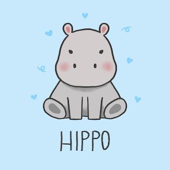 Style dessiné à la main de dessin animé mignon hippo
