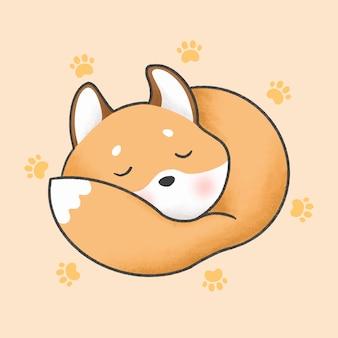 Style dessiné à la main de dessin animé renard endormi