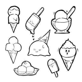Style dessiné à la main doodle, jeu de crème glacée.