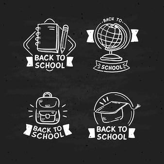 Style dessiné à la main sur les étiquettes de l'école