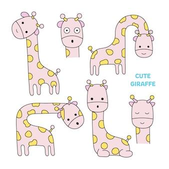 Style dessiné à la main girafe mignon