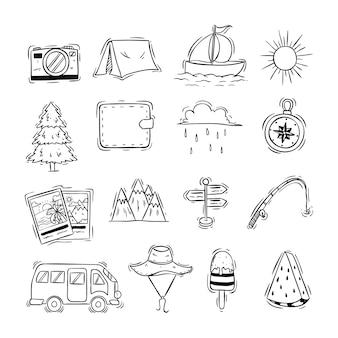 Style dessiné à la main des icônes de voyage mignon ou des éléments