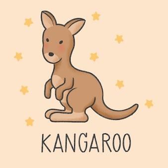 Style dessiné de main kangourou mignon