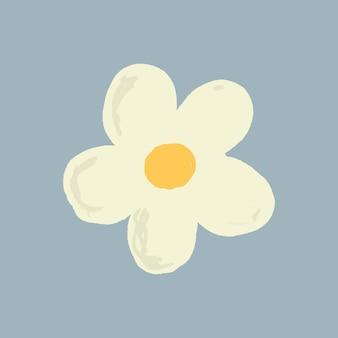 Style dessiné à la main mignon de vecteur d'élément de fleur blanche