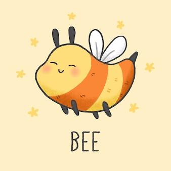 Style dessiné à la main mignonne abeille