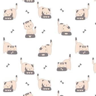 Style dessiné à la main de modèle sans couture de chats mignons
