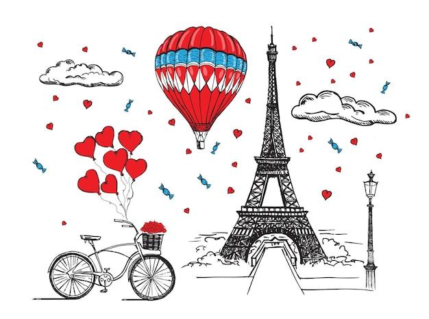 Style dessiné à la main en montgolfière de la tour eiffel