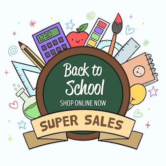 Style dessiné à la main de retour aux ventes de l'école