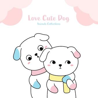 Style de dessinés à la main animaux amoureux de chien mignon