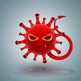Style de diable de caractère de coronavirus rouge