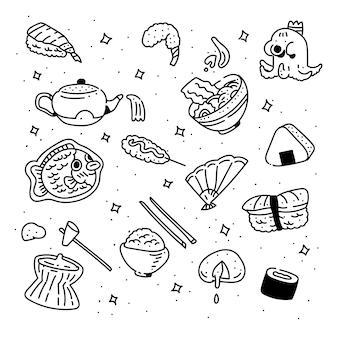 Style de doodle de dessin à la main de la cuisine japonaise