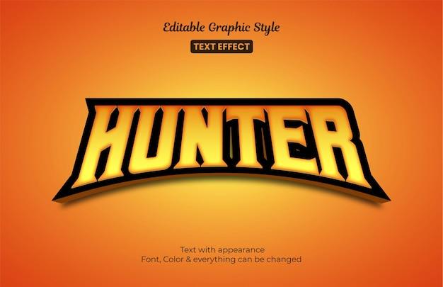 Style e-sport de jeu de chasseur orange, effet de style de texte modifiable