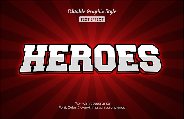Style e-sport de jeu rouge, effet de style de texte modifiable