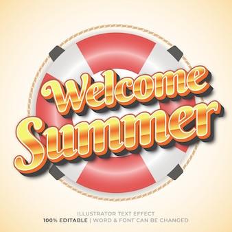 Style d'effet de texte bienvenue summer