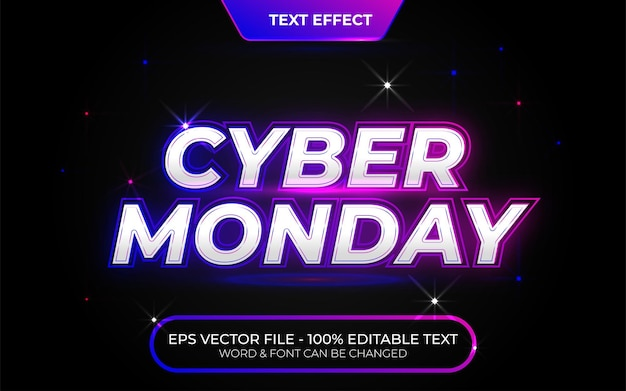Style d'effet de texte cyber monday effet de texte modifiable thème de vente de style néon