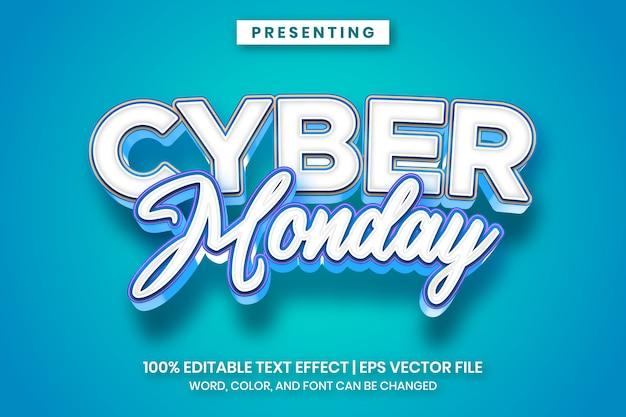 Style d'effet de texte de dessin animé audacieux cyber monday