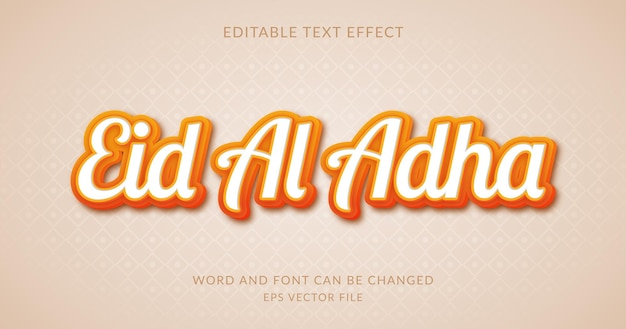 Style d'effet de texte eid al adha ou eid mubarak