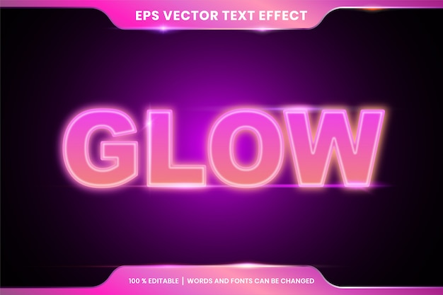 Style d'effet de texte glow lights modifiable