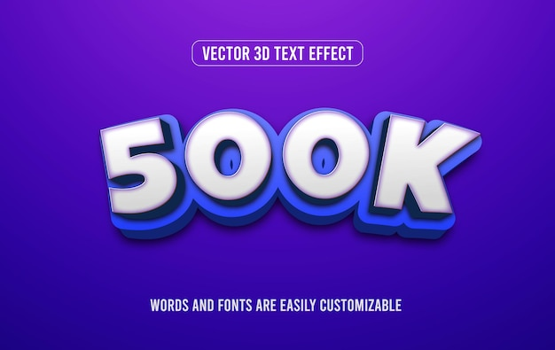Style d'effet de texte modifiable en 3d d'abonnés 500k