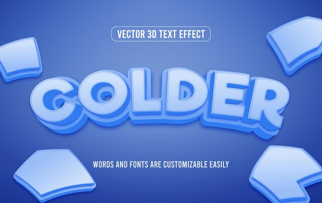 Style d'effet de texte modifiable en 3d d'hiver plus froid