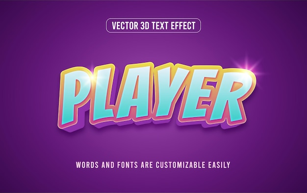 Style d'effet de texte modifiable en 3d de joueur de jeu coloré