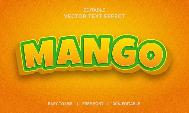 Style d'effet de texte modifiable à la mangue vecteur premium