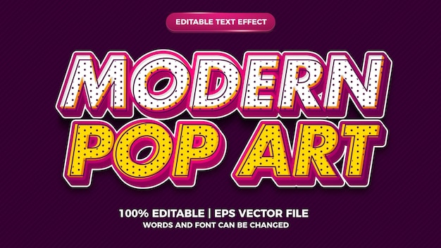 Style d'effet de texte modifiable pop art moderne pour le style ancien