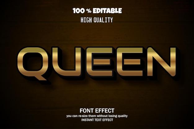 Style D'effet De Texte Modifiable Queen Vecteur Premium