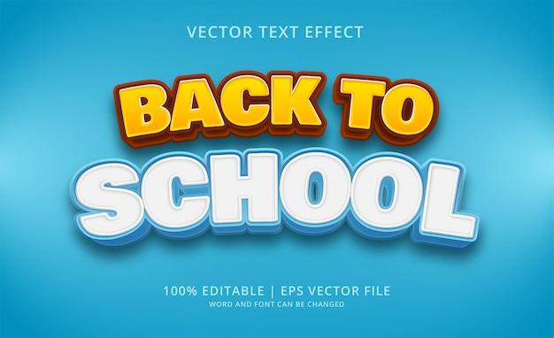 Style d'effet de texte modifiable de retour à l'école