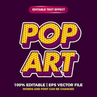 Style d'effet de texte modifiable vintage rétro pop art pour le style ancien