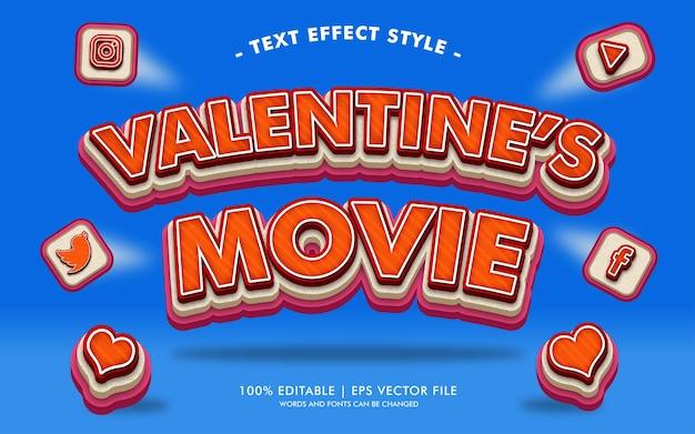 Style des effets du texte du film de la saint-valentin